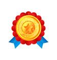 gold medal award with star and ribbon vector image vector image