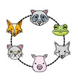 grated set cute heads wilds animals design vector image