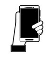 hand holding smartphone with blank screen icon vector image vector image