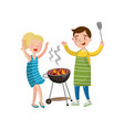 happy couple preparing barbecue on the grill vector image vector image