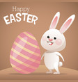 happy easter card bunny big egg vector image