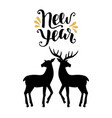 happy new year greeting card with calligraphy vector image