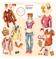 Hipster girl clothes set vector image