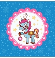 Horse circus card design vector image