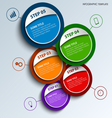 Info graphic with colored round design labels vector image vector image