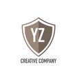 initial letter yz shield design loco concept vector image vector image
