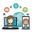 internet communication technology character vector image vector image