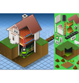 Isometric House with Bio Mass Boiler vector image vector image