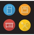 Kitchen flat linear icons set vector image vector image