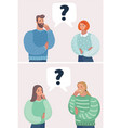 men and women thinking question marks vector image