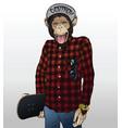 monkey skater hipster vector image vector image