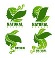 natural beauty beautiful woman face with green vector image vector image