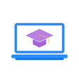 online education digital courses laptop with sign vector image vector image