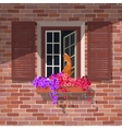 Open window and the cat vector image