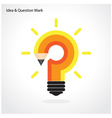 Pencil question mark and light bulb vector image