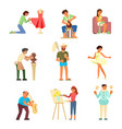 people and their hobbies flat vector image