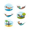 people rest hammocks set relaxing women and men vector image vector image