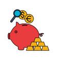 piggy bank gold bars euro dollar vector image