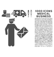 Postman Icon with 1000 Medical Business Pictograms vector image vector image