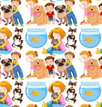 Seamless background with kids and pets vector image vector image
