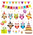 Set of birthday party elements with owls vector image vector image