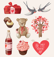 Set of romantic items for valentine day vector image
