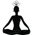 silhouette woman practicing yoga in lotus posit vector image