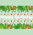 Slogan happy birthday green leaves cartoon