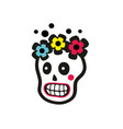 sugar skull of pretty girl with flowers on the vector image