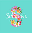 summertime floral poster with plumeria flowers vector image