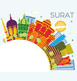surat india city skyline with color buildings vector image vector image
