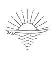 surf board and sea sunrise vector image