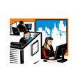 Telemarketer Office Worker Retro vector image vector image