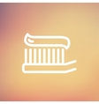 Toothbrush with toothpaste thin line icon vector image vector image