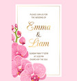 wedding invitation template pink orchid frame gold vector image vector image