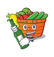 with beer fruit basket character cartoon vector image