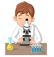 young boy using microscope on laboratory vector image