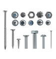 3d realistic steel bolts nails screws vector image