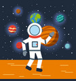 astronaut solar system flat vector image