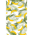 banana seamless pattern with palm leaves on white vector image vector image