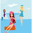beauty travel girls in the airport vector image vector image