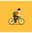Bicyclist riding to school or work vector image