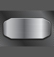brushed metal plate on perforated background vector image