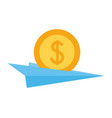 business paper plane with dollar coin vector image