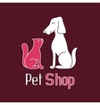 Cat and dog are best friends sign for pet shop vector image
