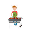 cheerful man cooking sausages on the barbecue vector image vector image