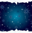 christmas background with snowflakes and ice vector image