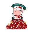 christmas card with a cow or a bull vector image vector image