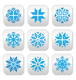 Christmas winter blue snowflakes buttons s vector image vector image