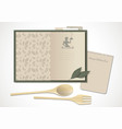 cookbook with moms recipes wooden spoon and fork vector image vector image
